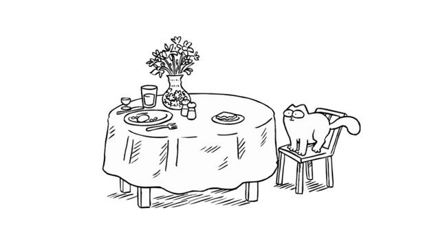 Pause déjeuner chat de Simon