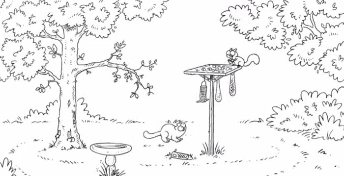 Simon's Cat et l'écureuil