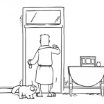 Simon's Cat devant les toilettes