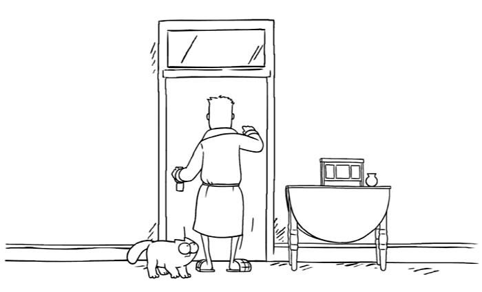 Simons Cat devant les toilettes alors que son maitre voudrait bien faire caca peinard