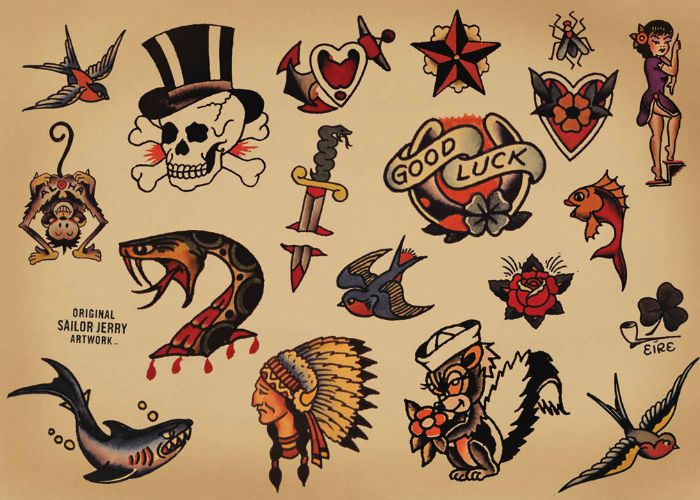 La signification des tatouages old school for Sailer jerry tattoo