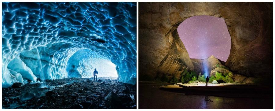 un couple parcoure les etats unis en van grottes