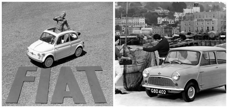 Les plus belles tiny cars Fiat 500 et Austin mini