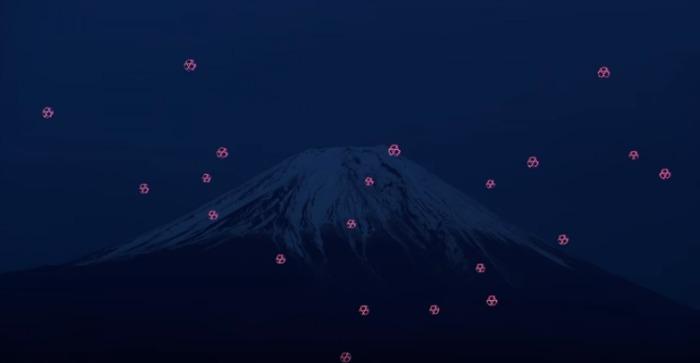 ballet de drones au mont fuji